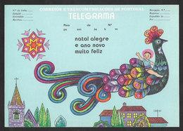 Portugal Télégramme Nouvelle Année Paon Telegram New Year Peacock - Peacocks