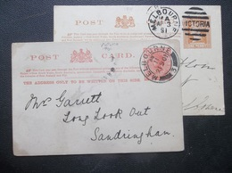 Victoria, Australia: 1891 & 1901 Postal Cards To Sandringham, Etc. (#UD11) - 1850-1912 Victoria