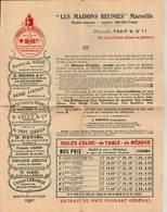 """Marseille  - Catalogue Des """"Maisons Reunies """" 105 Avenue Du Prado - Vers 1910- 6 Scan - Alimentaire"""