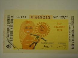 Belgie Belgique Loterie Nationale Loterij 14 De E Tranche Berchem (Ant) 1974 - Billets De Loterie