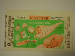 Belgie Belgique Loterie Nationale Loterij 16 De E Tranche  Wiers 1974 - Billets De Loterie