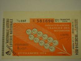Belgie Belgique Loterie Nationale Loterij 17 De E Tranche  Des Moissons Oogsttranche De La Panne 1974 - Billets De Loterie