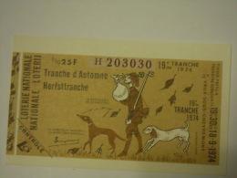 Belgie Belgique Loterie Nationale Loterij 19 De E Tranche  D'automne Herfsttranche  Vaux-sous-Chevremont 1974 Chasse - Billets De Loterie