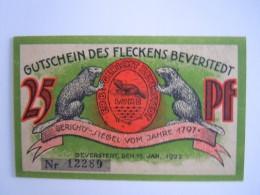 Allemagne Notgeld 1922 Gutschein Des Fleckens Beverstedt 25 Pfennig Neu Bever - [11] Emissions Locales