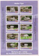 Privatpost -PostModern-  Weißer Tiger (Panthera Tigris) - Kleinbogen 10 Marken - Privados & Locales