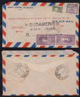 Bolivia 1941 Airmail Cover VIA LAB To SAO PAULO Brazil Bisect Stamp - Bolivie
