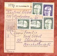 Paketkartenteil, MiF Heinemann, Nordenham Nach Oldenburg 1974 (52239) - BRD