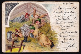 CARTE LITHO ALLEMANDE 1900 ** CLOCHARD (S) DANS LA FENIERE - VAGABOND (S) IN HAY BARN ** LAZY BUM - PARESSEUX - Illustrateurs & Photographes