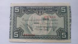 Billete 5 Pesetas. 1937. Bilbao. República Española. Guerra Civil. Sin Serie. Caja De Ahorros Y Monte De Piedad - 5 Pesetas