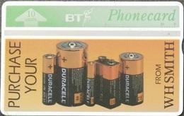 United Kingdom - BTA-041, W H Smith - Duracell, Batteries, 10U,  5000ex, 7/92, Used - BT Advertising Issues
