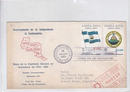 FDC 1971.MAPA DE LA CAPITANIA GENERAL DE GUATEMALA 1753-1821. CIRC SAN JOSE TO BS AIRES. BADELETA PARLANTE.-BLEUP - Costa Rica