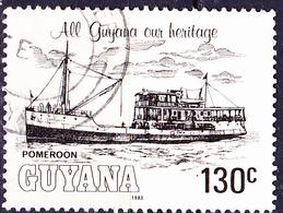 """Guayana - Flussschiff """"Pomeroon"""" (MiNr: 981) 1983 - Gest Used Obl - Guyana (1966-...)"""