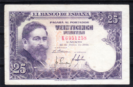 ESPAÑA 1954. 25 PESETAS.ISAAC ALBENIZ MBC. SERIE K . B340 - [ 3] 1936-1975 : Regency Of Franco