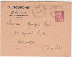 """Enveloppe Commerciale 1949 / J. COSCULLUELA / """"A L' Economie""""/ Vêtements / 11 Rieux Minervois / Aude - Maps"""