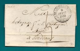 Aveyron - Villefranche De Rouergue Pour Holagray à Bordeaux. 1838 - Marcophilie (Lettres)