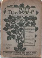 ART Et DECORATION  Novembre 1913   :  Mathurin Méheut - Rembrand Bugatti - Livres, BD, Revues