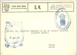 MARCA SEVICIO GEOGRAFICO  DEL EJERCITO 1975 - Franquicia Militar
