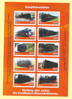 Privatpost - PostMODERN - Eisenbahn - Bogen Mit 10 Dampfloks - Eisenbahnen