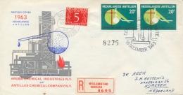 Netherlands Antilles Nederlandse Antillen 1963 FDC Registered Chemical Factories On Aruba - Fabbriche E Imprese