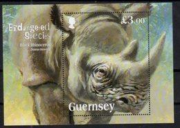 GUERNSEY, 2018, MNH, ENDANGERED SPECIES, RHINOS, S/SHEET - Rhinozerosse