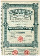Ancienne Action - Société De Matériel Chirurgical - Ancienne Maison Mathieu - Titre De 1921 - - Industrie