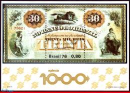 Ref. BR-1484 BRAZIL 1976 BANK + INSURANCE, 1000 BANK BRANCH OF BANK, OF BRAZIL,BANKNOTE,HORSE,MI#B38,MNH 1V Sc# 1484 - Blocs-feuillets