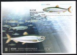 ESTONIA, 2017, FDC FISH, - Fishes