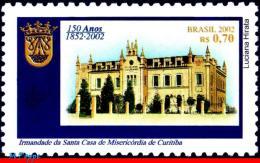 Ref. BR-2847 BRAZIL 2002 - CHARIFY HOSPITAL CURITIBA, , ST HOUSE, MI# 3246, MNH, ARCHITECTURE 1V Sc# 2847 - Médecine