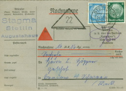 Deutsches Reich 516,521 Auf Nachnahmekarte Stettin 14.3.39 - Briefe U. Dokumente