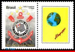 Ref. BR-3145-1 BRAZIL 2010 FOOTBALL-SOCCER, CORINTHIANS, FAMOUS CLUBS, , PERSONALIZED MNH 1V Sc# 3145 - Brazil