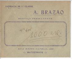 Commercial Cover * Portugal * Matozinhos * Farmacia De 1ª Classe A. Brazão * Holed - Werbung