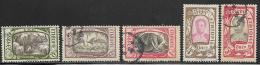 Ethiopia Scott # 127-9,132-3 Used Various Subjects, 1919 - Ethiopia