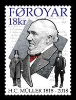 Faroe Islands 2018 Mih. 913 Politician Hans Christopher Muller MNH ** - Faeroër