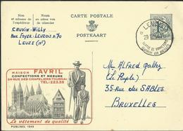Publibel Obl. N° 1545  ( Maison FAVRIL - Tournai) Obl. Leuze  Centre De Bonneterie 29/12/58 - Publibels