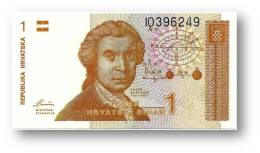 CROATIA - 1 Dinar - 08/10/1991 - P 16 - Unc. - Série I0 - Ruder Boskovic / Zagreb Cathedral - Croácia Croatie Kroatien - Croatie