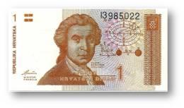 CROATIA - 1 Dinar - 08/10/1991 - P 16 - Unc. - Série I3 - Ruder Boskovic / Zagreb Cathedral - Croácia Croatie Kroatien - Croatie
