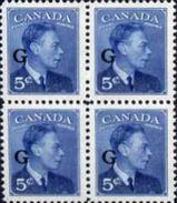 CANADA 1950 George VI 5c Blue OVPT:G 4-BLOCK [Aufdruck,surimprimé,sobreimpreso,soprastampato,opdruk] - Officials
