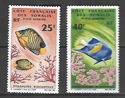 Côte Française Des Somalis  Poste Aérienne 1966 Faune Marine  Cat Yt N° 50 Et 51     N**  MNH - Frankrijk