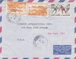 ESC De Saint-Pierre Et Miquelon (975) Pour New York (USA) - CAD 15 Mars 1960 - Timbres YT 338 & 360 - St.Pierre Et Miquelon