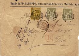 1886- Enveloppe RECC. De Mortain ( Manche ) Affr. Sage N° 82 X 2 Et 93  Pour Vire - Marcophilie (Lettres)