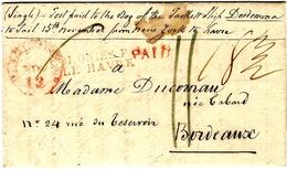 1825- Lettre De BALTIMORE - PAID Rouge + COLONIES PAR /LE HAVRE Rouge  Pour Bordeaux - Storia Postale