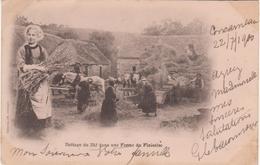 Cpa Dept 29 - Battage Du Blé Dans Une Ferme Du Finistère  (circulé En 1900 Voir Scan Recto-verso) - France