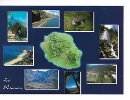 974 PANORAMA De LA REUNION L'ile Vue D'avion Et 8 Minivues  CPM éditions AGEDIS  / Voy.2000  / TTBE - La Réunion