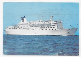 (RECTO / VERSO) PAQUEBOT CAR FERRY LIBERTE - SOCIETE MARITIME CORSE MEDITERRANEE - CPM GF VOYAGEE - 75 - Ferries