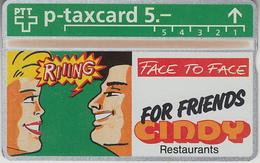 SUISSE - PHONE CARD - TAXCARD-PRIVÉE *** RESTO - CINDY VERT   *** - Switzerland