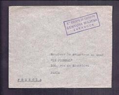ENVELOPPE GUERRE ESPAGNE Cachet Censure Censura Militar 5° Cuerpo De Ejercito ZARAGOZA 1938 - Marcas De Censura Nacional