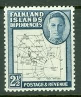 Falkland Islands Dep: 1946/49   KGVI - Maps    SG G11b   2½d    MH - Falkland Islands