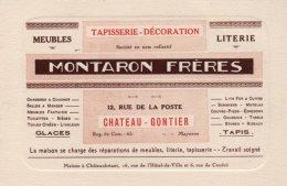 CARTE DE VISITE  53   CHATEAU-GONTIER---MONTARON-FRERES---12, RUE DE LA POSTE---TAPISSERIE-DECORATION. - Chateau Gontier