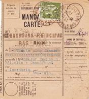 MANDAT-CARTE Affr Y&T 284A Obl STRASBOURG PRINCIPAL Du 22.12.34 Adressé à Innenheim - Marcophilie (Lettres)