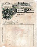 1921 - MILLAU - KINA-CURE - Maison Louis BOS - Chartrelline - Liqueur Hygiénique - - Documentos Históricos